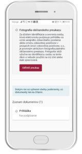 Odfotiť občiansky preukaz (dotykové zariadenie)